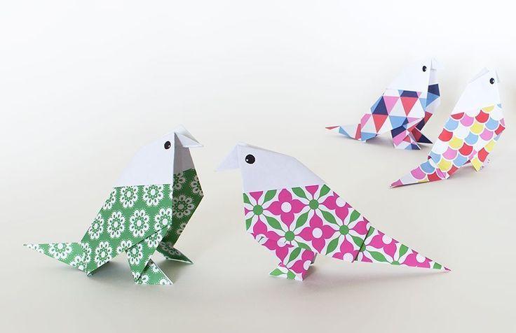 Origami Vögel aus Scrapbooking-Papier falten