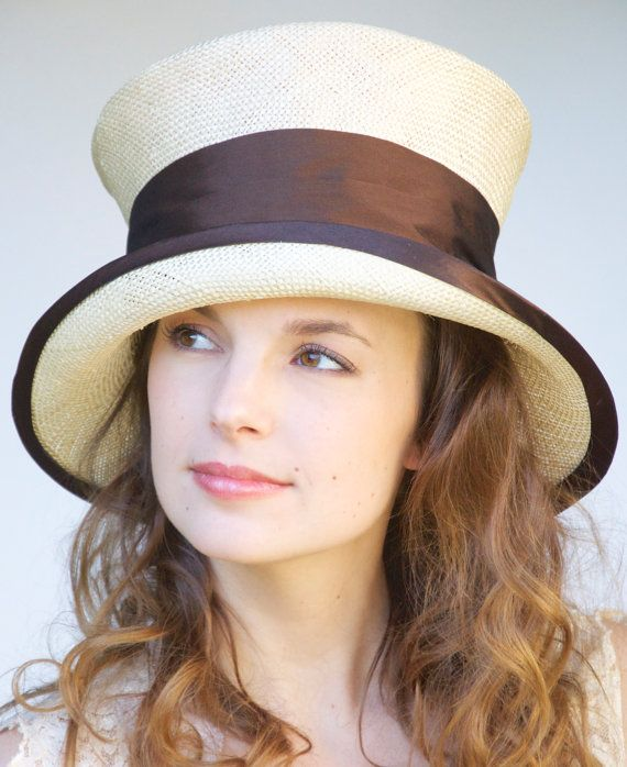 Ahhhhh, I could make this a beautiful Derby Hat!   Brown & Ivory Angled Cloche. Kentucky Derby Hat. by AwardDesign
