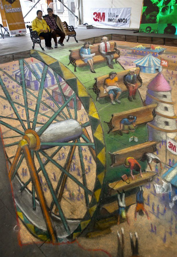 Street Art In Chile by Julian Beever. That's amazing.
