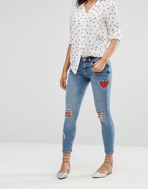 River Island | Рваные джинсы с нашивками River Island