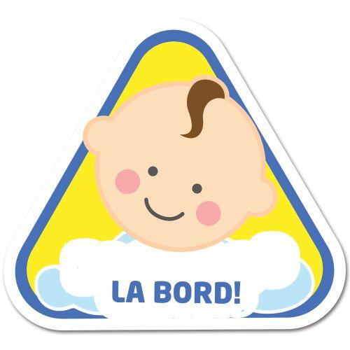 Autocolant (sticker) auto personalizabil ce reprezinta un bebelus baietel cu mesajul Bebe la bord.