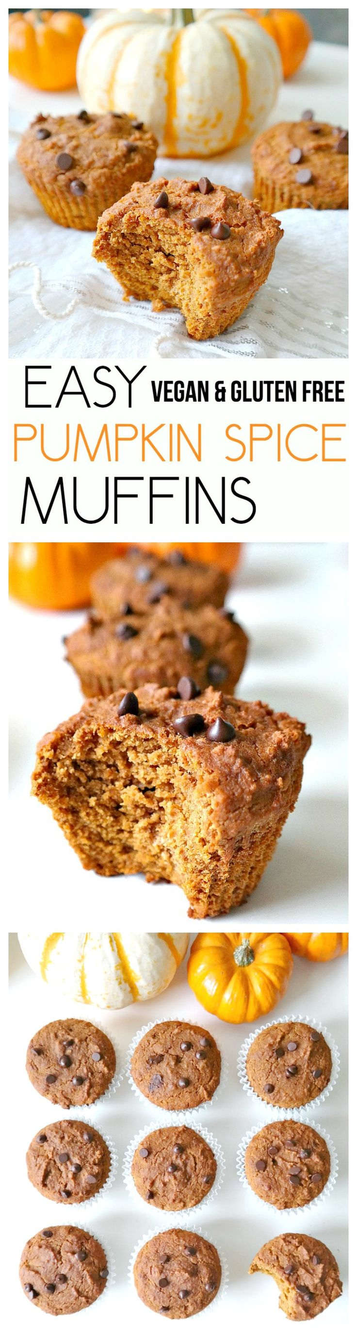 Easy Pumpkin Spice Muffins. Vegan, Gluten Free, Oil Free, Nut Free and Low Fat!! The most flavorful, sweetly spiced, pumpkin muffins. Healthy, simple to make and SO GOOD. From The Glowing Fridge.