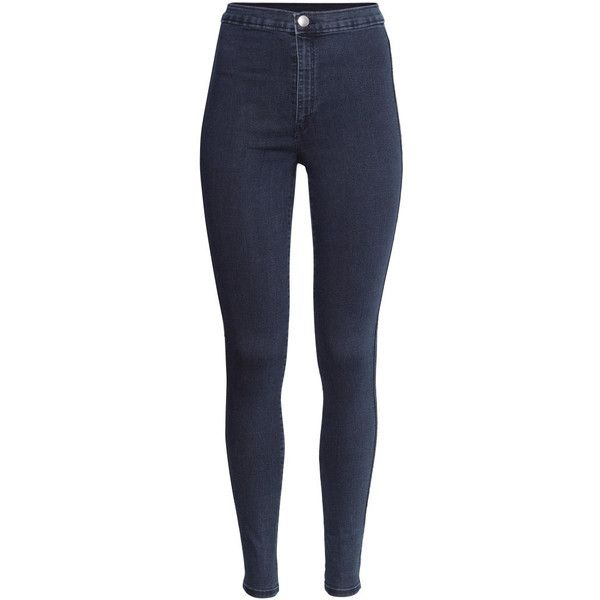 H&M Trousers High waist ($12) ❤ liked on Polyvore featuring jeans, pants, bottoms, calças, pantalones, dark denim blue, dark denim jeans, slim leg jeans, h&m skinny jeans and blue skinny jeans