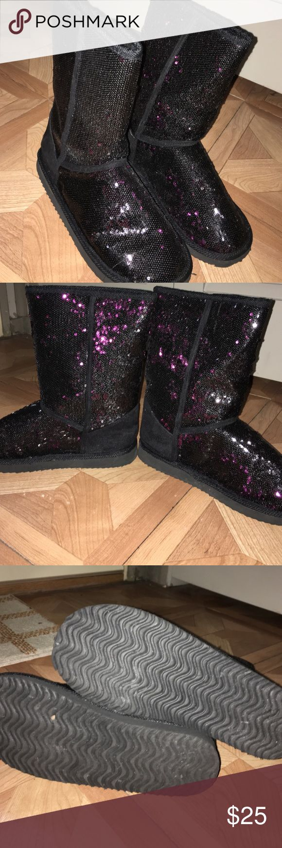 Black and purple glitter boots Winter boots, maybe only been worn once very warm! Shoes Winter & Rain Boots