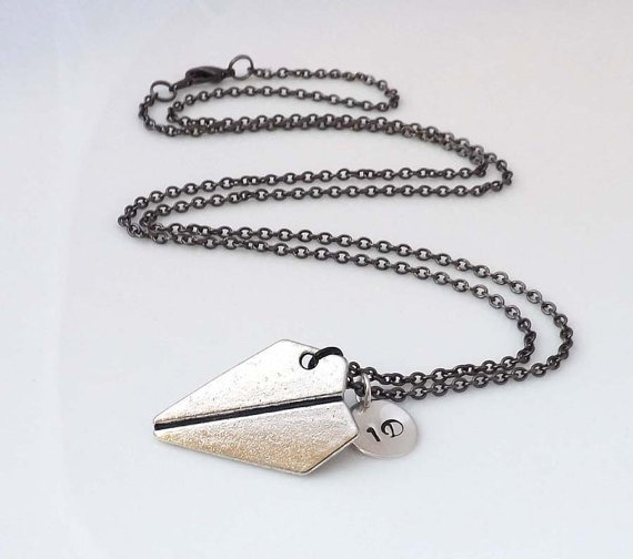 One Direction necklace - paper airplane necklace - Directioner-personalized initial: Beautiful Necklaces, Airplane Necklaces, Direction Necklaces