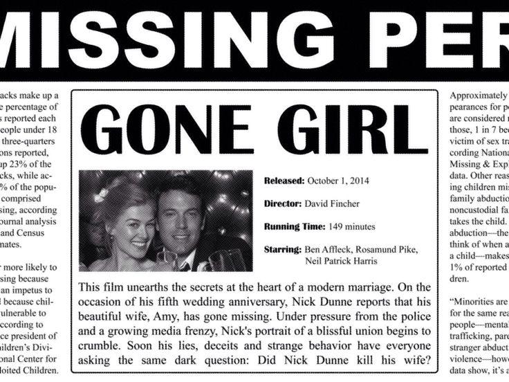 Gone Girl. #wheredidshego #gonegirl #movie #movieposter #posterdesign #design #poster #newspaper #classifieds