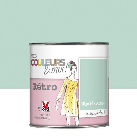 chambre Choupinette - Peinture multisupports Mes couleurs et moi Rétro V33, vert menthe douce, 0.5 L