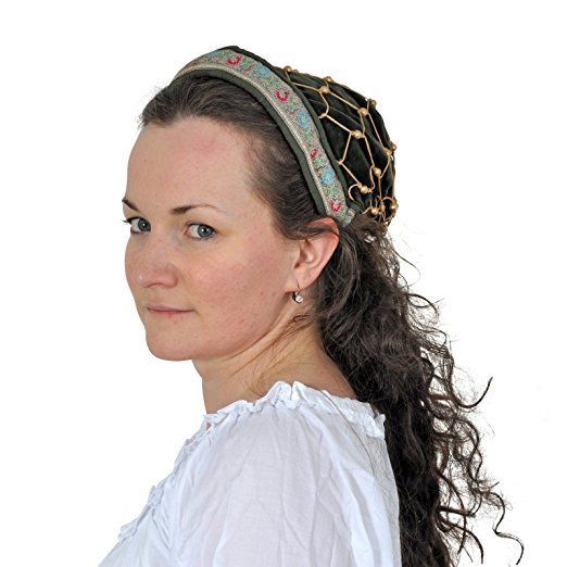 Mittelalterliche Haube mit Bordüre, edler Samt, mit Haarnetz, flexibler Gummizug