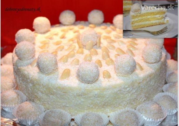 Rafaelo je môj obľúbený dezert, tak som jeho jemnú kokosovú chuť využila pri príprave torty s pravým kokosovým mliekom.