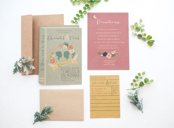 The Library book invitation set.  This unique and fun invitation set is perfect for intellectuals, book lovers or those with a vintage themed