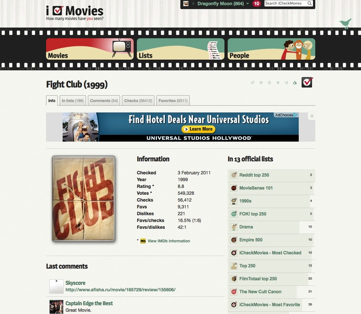 i Check Movies is a fun yet resourceful site where you can check off all the films you have ever seen or mark the films you want to see. You also get recommendations, the direct link to a movie's page on imdb.com, and the ability to review films.