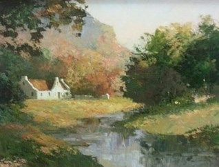 House In Woods Against Mountains - Marais Wessel