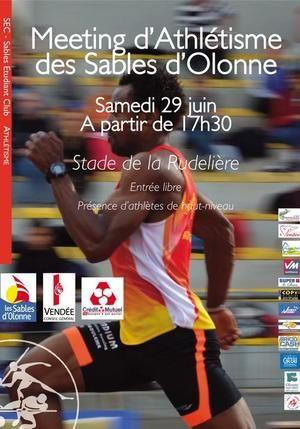 Meeting d'Athlétisme des Sables d'Olonne. Le samedi 29 juin 2013 aux Sables d'Olonne.  17H30