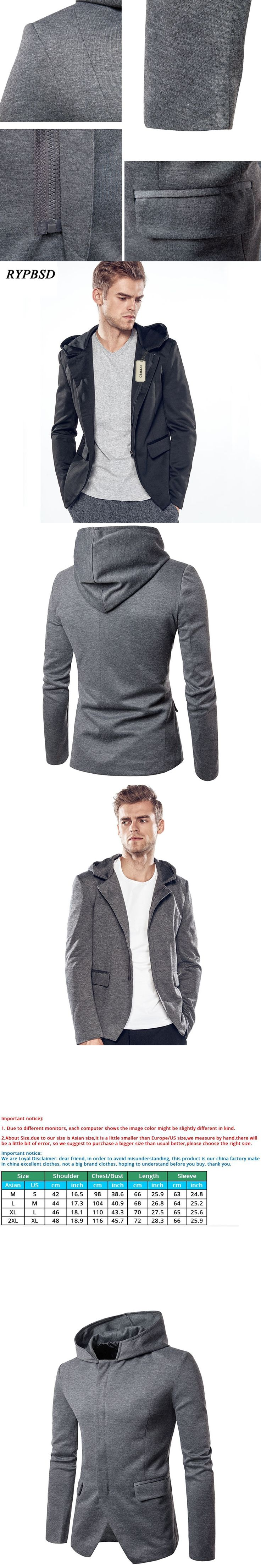 Autumn New British Blazer Men 2017 Solid Black Gray Zipper Design Casual Long Sleeve Hooded Suit Blazer Jacket and Coat Men 2XL