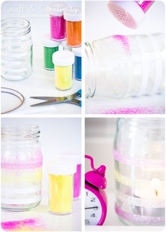 super simple glitter craft.  double stick tape + glitter = oh my god glitter everywhere! - by Craft & Creativity