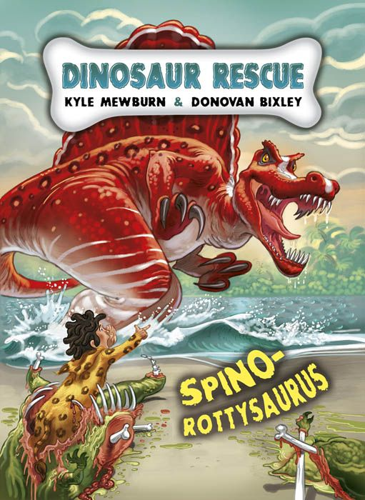 """Dinosaur Rescue Spino-rottysaurus"". Illustrated by Donovan Bixley. Written by Kyle Mewburn. Published by Schoilastic 2012."