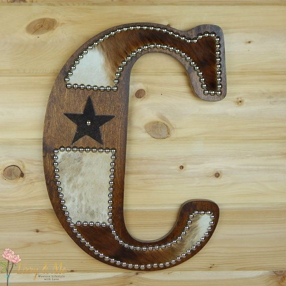 Cowhide Wall Letter C Made to Order Western Home by LizzyandMe
