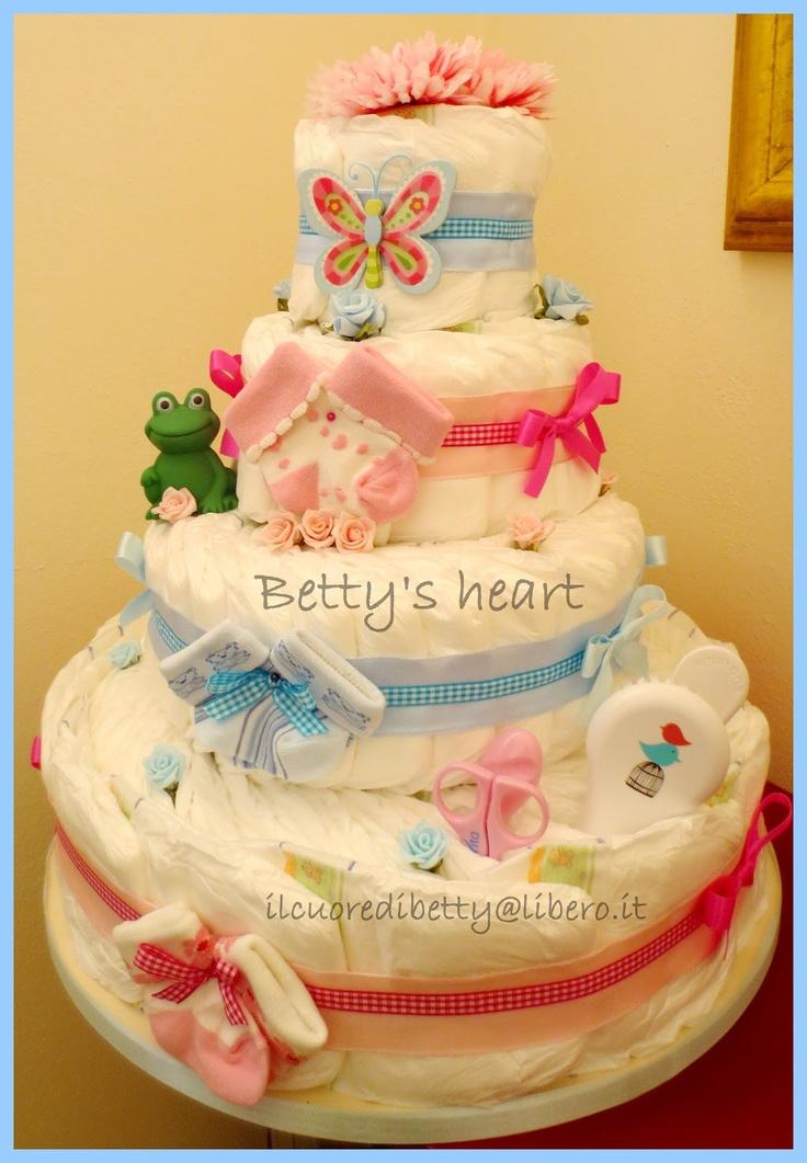 Torte di Pannolini Betty's heart - Diaper Cakes  http://www.facebook.com/tortedipannoliniBettysHeart