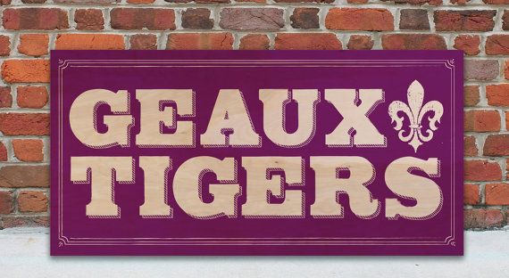 Wood Wall Art :: Wood Art :: Rustic Wooden Signs :: Wall Art :: Signs with Quotes :: Hey! Fightin' Tigers! Fight all the way! Hey! Fightin' Tigers! Win the game today! :: Geaux Tigers Wooden Sign :: Are you and LSU fan? :: GO Tigers! :: Show your school spirit! www.WordsOnWood.com