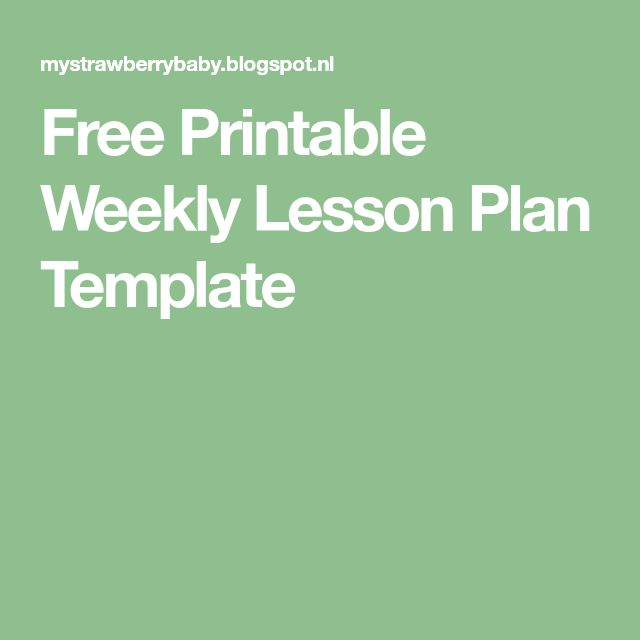 The  Best Weekly Lesson Plan Template Ideas On