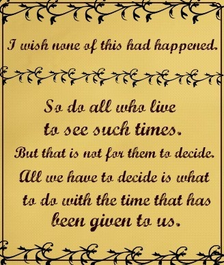 One of my favorite lord of the rings quotes. As I age I feel this way for younger people!