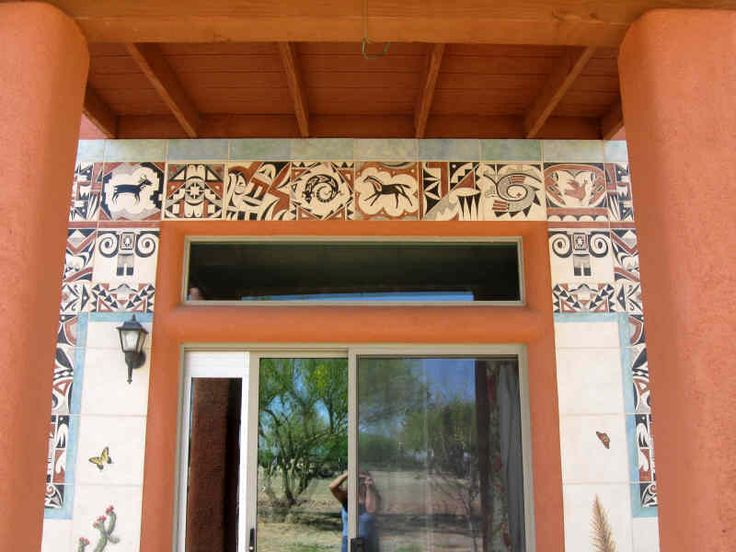 14 best images about hand painted native american glass for Native american tile designs