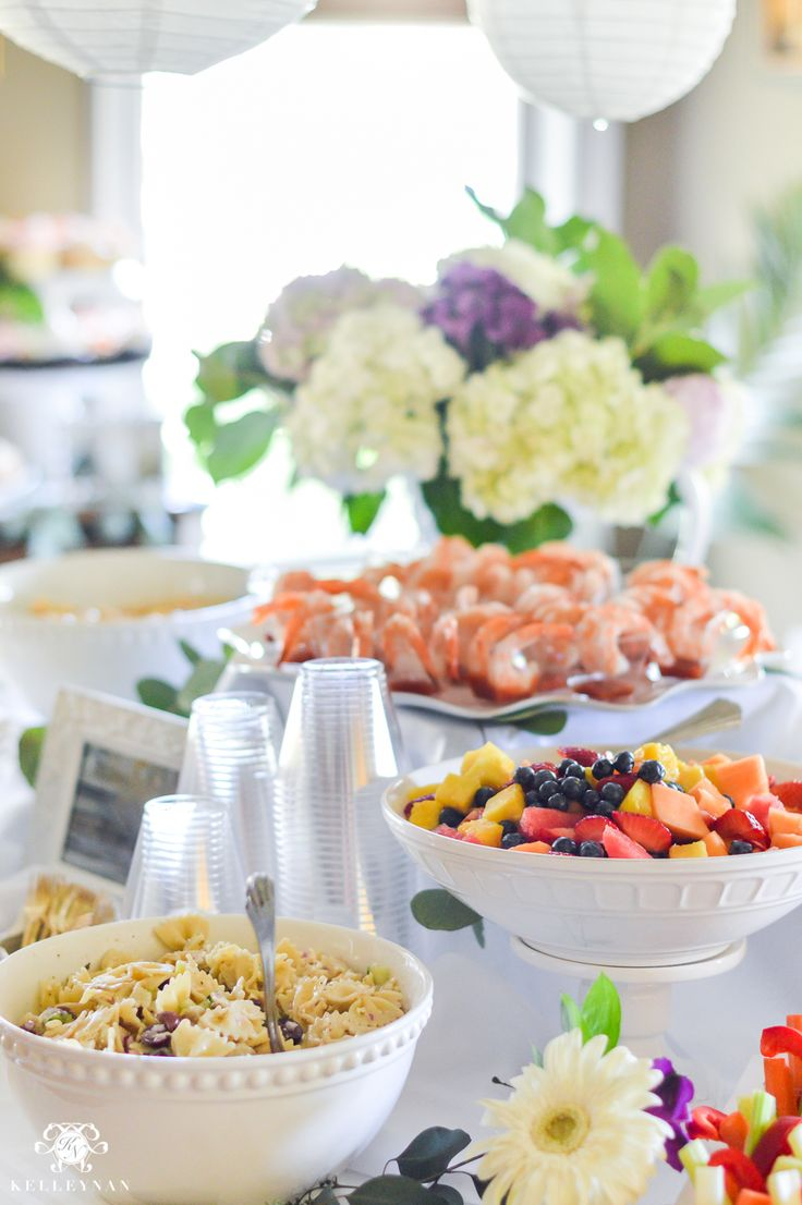 Southern Garden Party Bridal Shower Ideas- how to arrange a shower food table