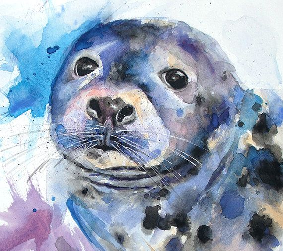 Sea life art print watercolor animal baby seal whimsical painting wildlife art