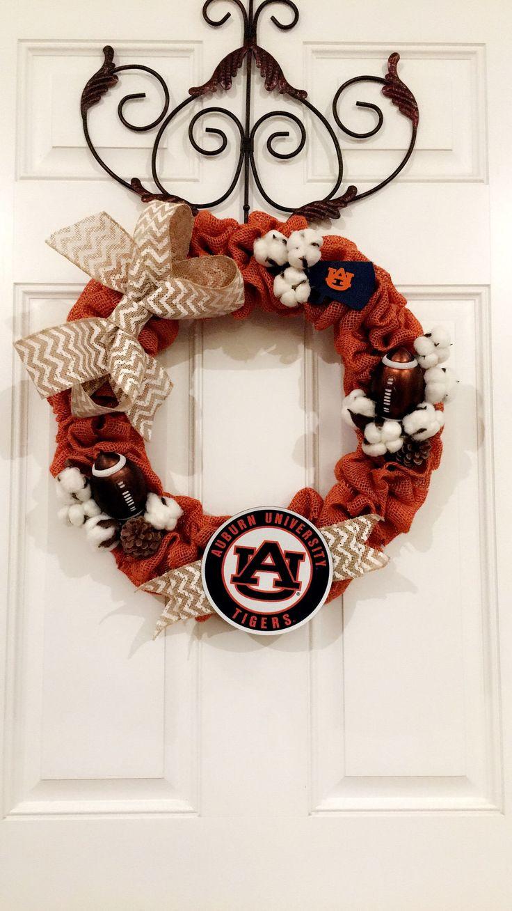 Auburn Tigers Football Wreath by MamaVsHomemadeTreats on Etsy https://www.etsy.com/listing/556193123/auburn-tigers-football-wreath