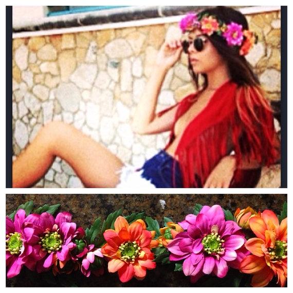 Coachella headband/ flower headband/ floral headband/ boho fashion/  vintage/ festival headband/ orange flowers/ pink floral headband via Etsy