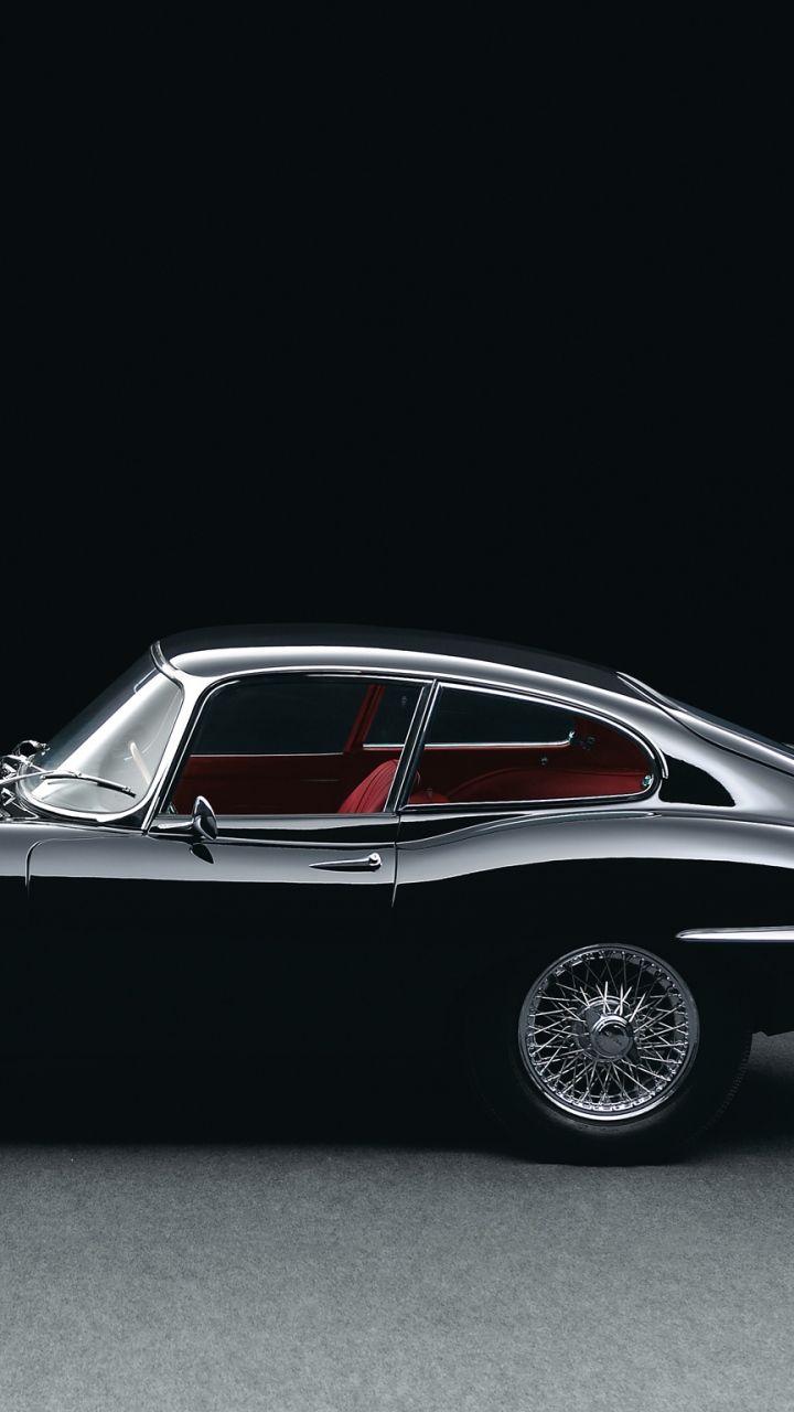 720x1280 Wallpaper jaguar, e-type, black, retro, side view, 1961