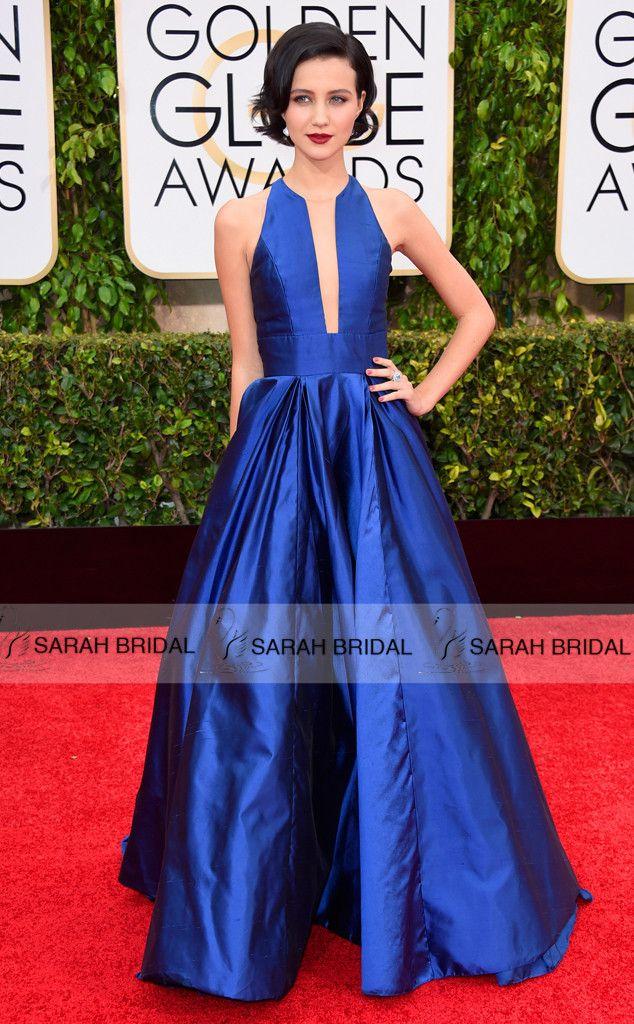 Julia Goldani Telles Royal Blue dresses 2015 72nd Golden Globe Awards Celebrity dresses Sexy A line Satin Evening Party Dress