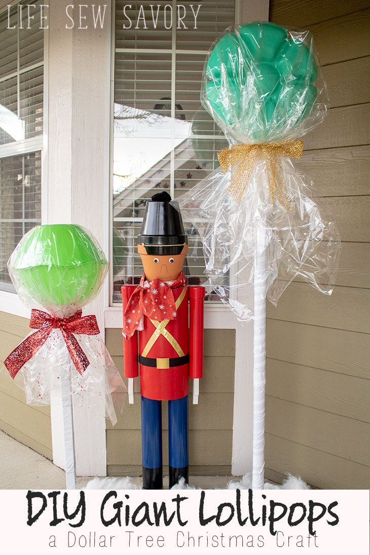 DIY Giant Lollipops Dollar Tree Christmas Craft from Life