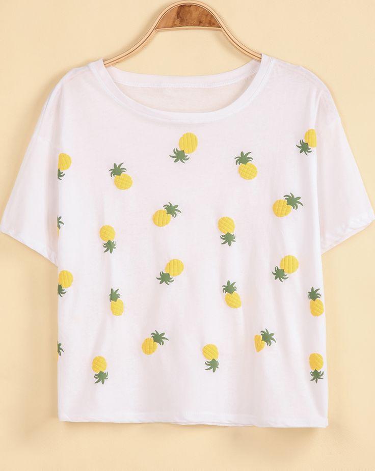 T-Shirt lâche motif ananas -blanc  7.72