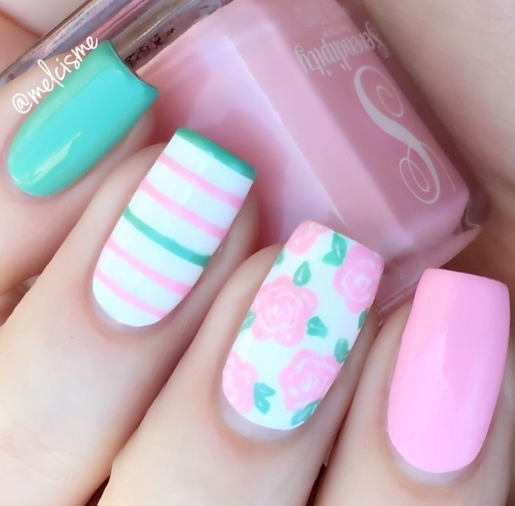 Spring Mix & Match nails @melcisme   turquoise + pink nailart with roses / floral / flower + stripes