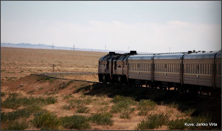 Trans Mongolian Train at Gobi Desert.