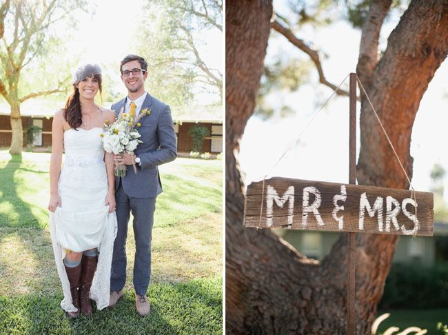 YES the riding boots with the tall socks under the dress!!!! doing it! California Backyard Wedding: Jessica + Mike