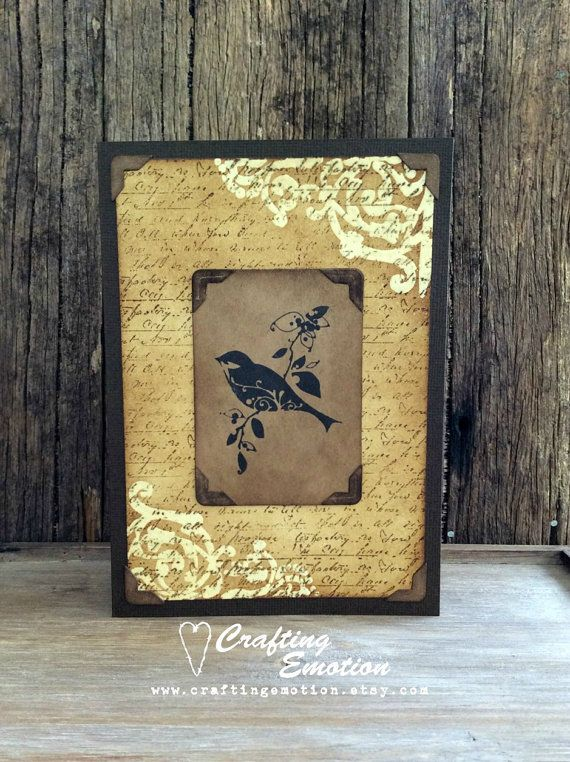 Handmade Rustic Bird One of a Kind Greeting Card  by Crafting Emotion