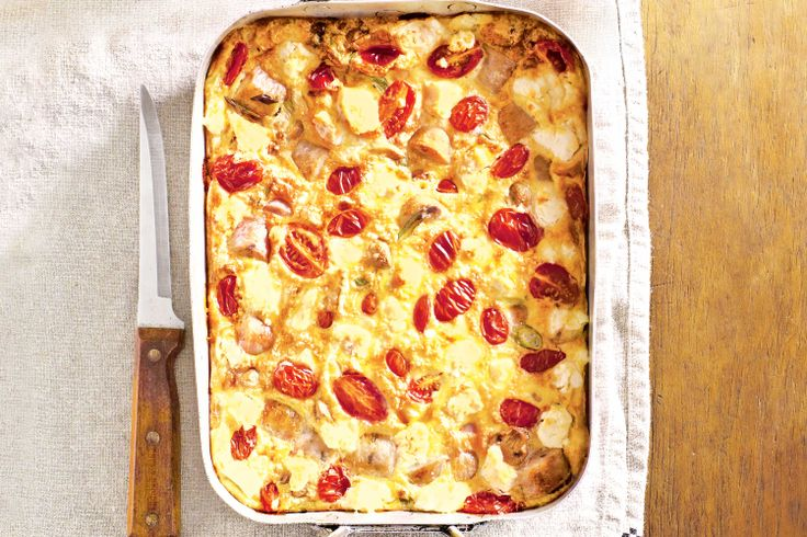 Chicken sausages are a quick and easy way to add flavour to this one-pot frittata. #frittata #onepot #recipes