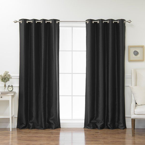 Effortlessly elevate any room in your well-appointed home with this pair of chic blackout curtain panels. Made from sateen polyester, this pair of curtain panels showcases an innovative triple-weave construction to insulate, darken, and blackout your space as needed. Eight antique bronze-toned grommets on each panel allow for easy installation and removal, while each piece is machine washable for effortless upkeep. Establish a retro aesthetic in your living room by pairing these thermal…