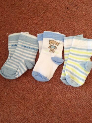 Baby Boy Socks 3 Pairs Size 0-3 Months New