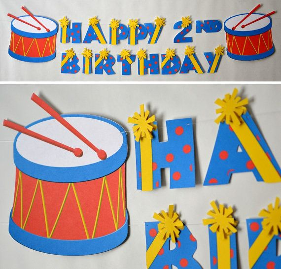 Toy Drum Birthday, Music Birthday, Rock Star Birthday Banner - Party Decoration - CUSTOM Name/Age (20 letters)