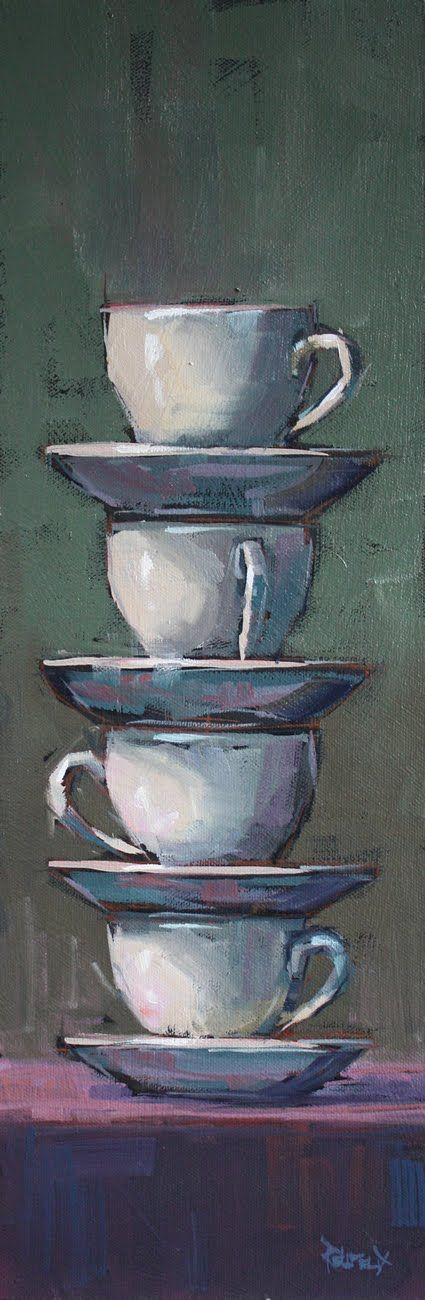 could add some unexpected color...cool cups...cathleen rehfeld • Daily Painting: 4 Cups