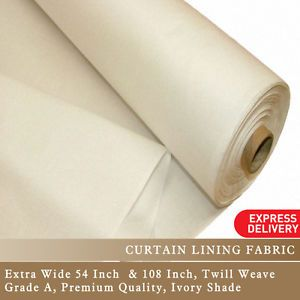 """Premium Curtain Lining Fabric Twill Weave 54"""" 108"""" Inch Wide Per Metre -  Ivory"""