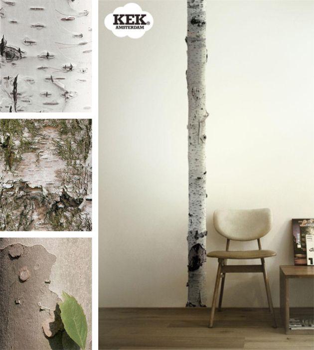 """Muurstikkers met bomen.  Wallstickers with trees.  Perfect met /with """"Linen Nature"""""""