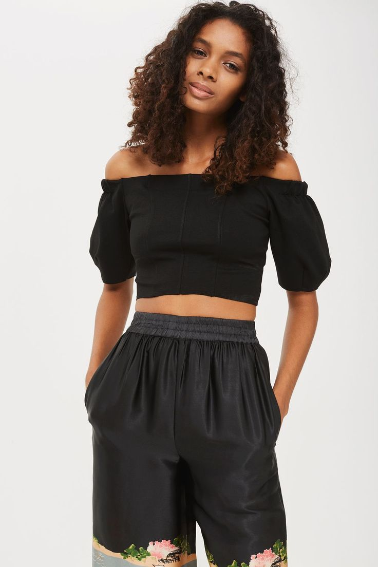 Balloon Sleeve Bardot Crop Top - New In Fashion - New In - Topshop