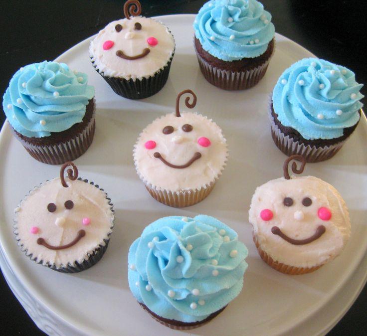 Cupcake Decorating Ideas For Seniors : baby shower cupcake ideas Baby Blue Cupcakes and ...