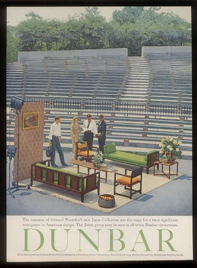 1957 Dunbar Edward Wormley sofa chair table vintage modern print ad