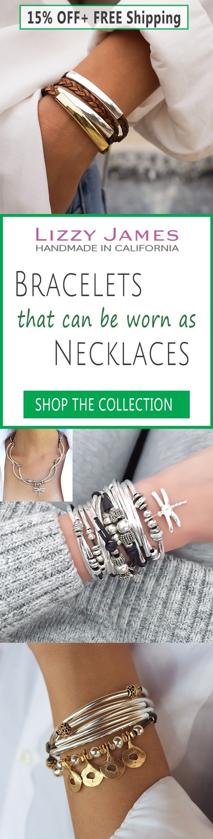 Great Holiday Gift Ideas! 15% Off + Free Shipping for all 1st time buyers, let Lizzy James Jewelry help you Fall into Style this Holiday Season! Featuring leather & cotton cord wrap bracelets that can also be worn as necklaces, our designs fit all wrist sizes from petite to plus size. Proud to be made in the USA! #lizzyjames