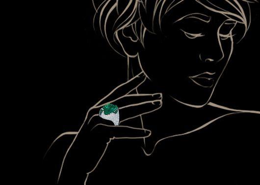 Белое золото 750, Изумруд 12,82 кар., Бриллианты, Изумруды Артикул: R0056-0/1